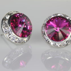 Rondelle Crystal Earrings With Rivoli Crystals From Swarovski Xl Fuchsia