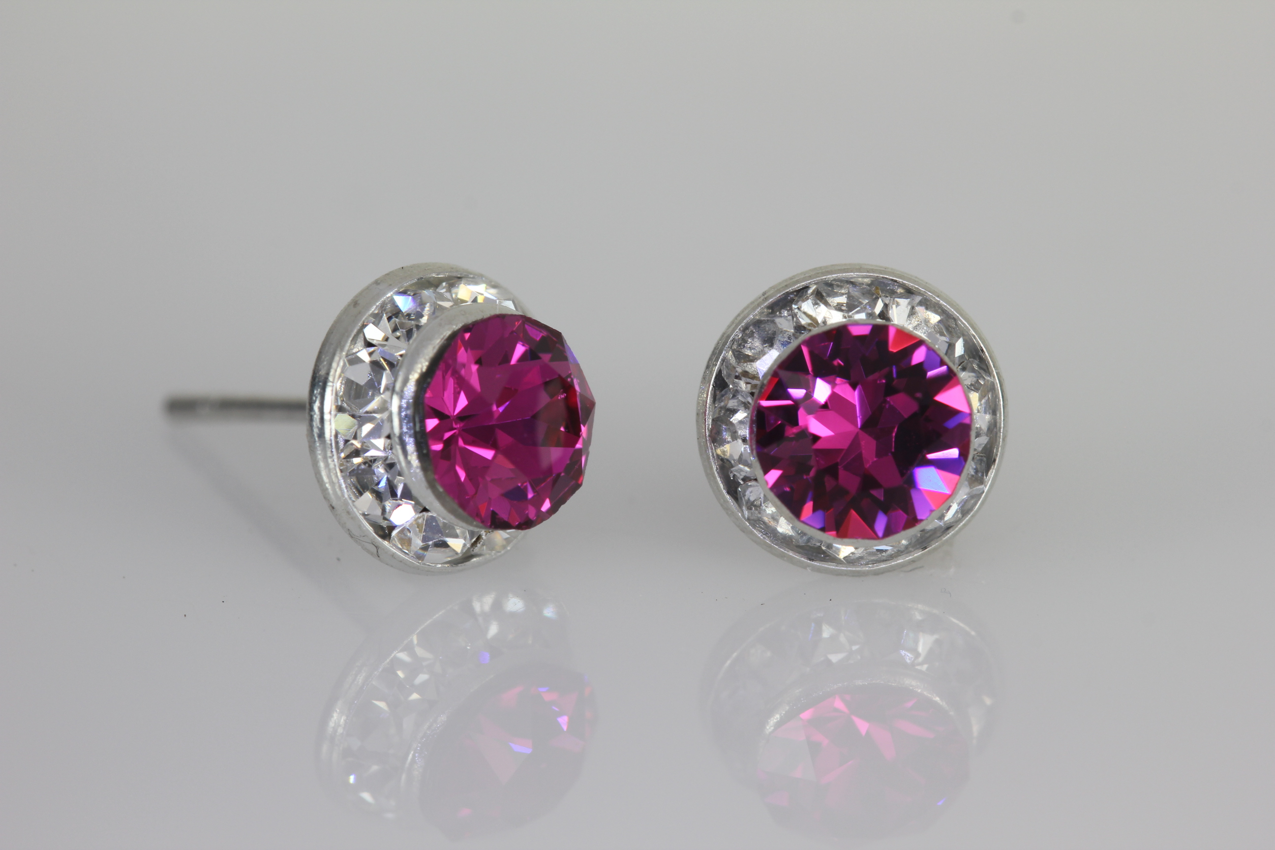 Rondelle Crystal Earrings With Xirius Chaton Crystals From Swarovski Medium Fuchsia